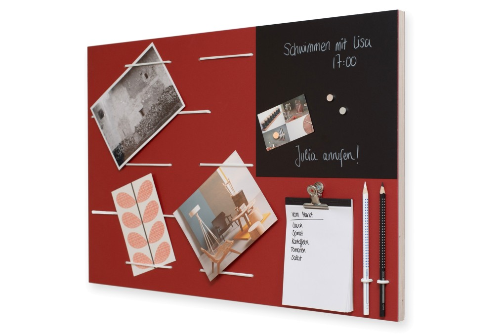 rotes memoboard | klotzaufklotz - exzellente holzprodukte