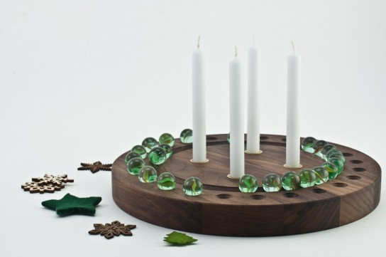 Adventskranz rund Nussbaum