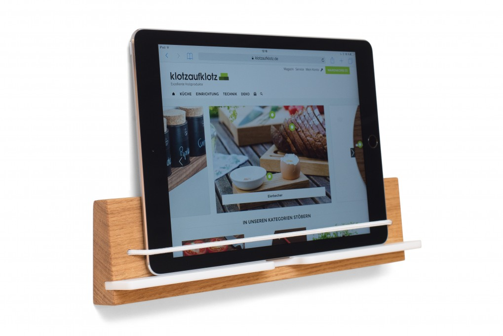 wandhalterung f rs ipad klotzaufklotz exzellente holzprodukte. Black Bedroom Furniture Sets. Home Design Ideas