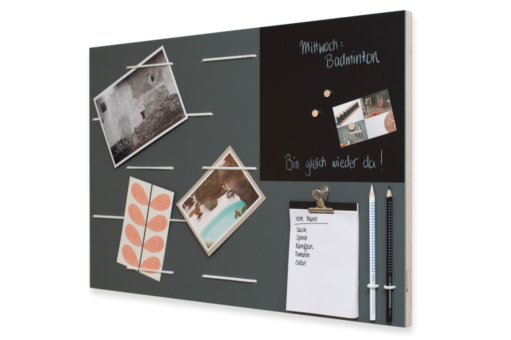 graues memoboard mit tafelfolie klotzaufklotz. Black Bedroom Furniture Sets. Home Design Ideas